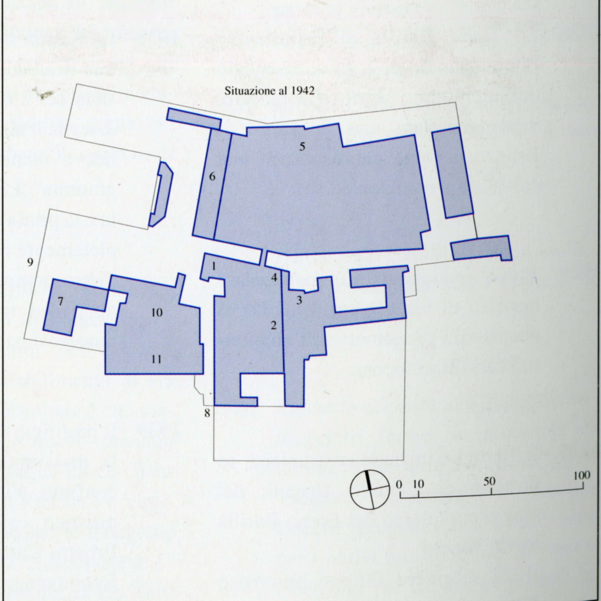 Floor plan of the building expansion of Barilla complex in 1942: 1) Offices and residence building, 1908; 2) Pasta factory, 1911; 3) Church of Saint Anthony, erected in 1903;04) Extension of the Pasta Factory, architect - Camillo Uccelli, 1922; 5) New ove