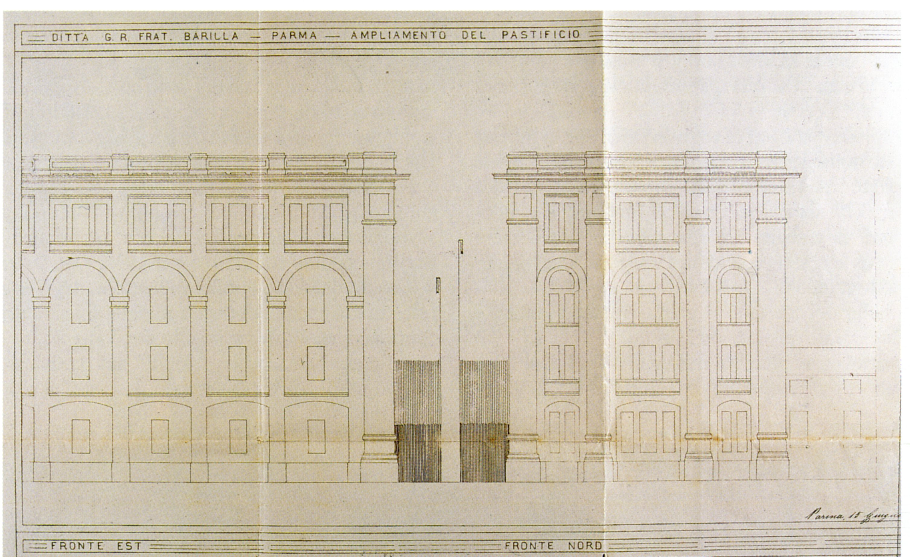 Camillo Uccelli, Extension of the Pasta Factory, 1922: east and north perspective designs [ASCPR, building licenses, 1922/172].