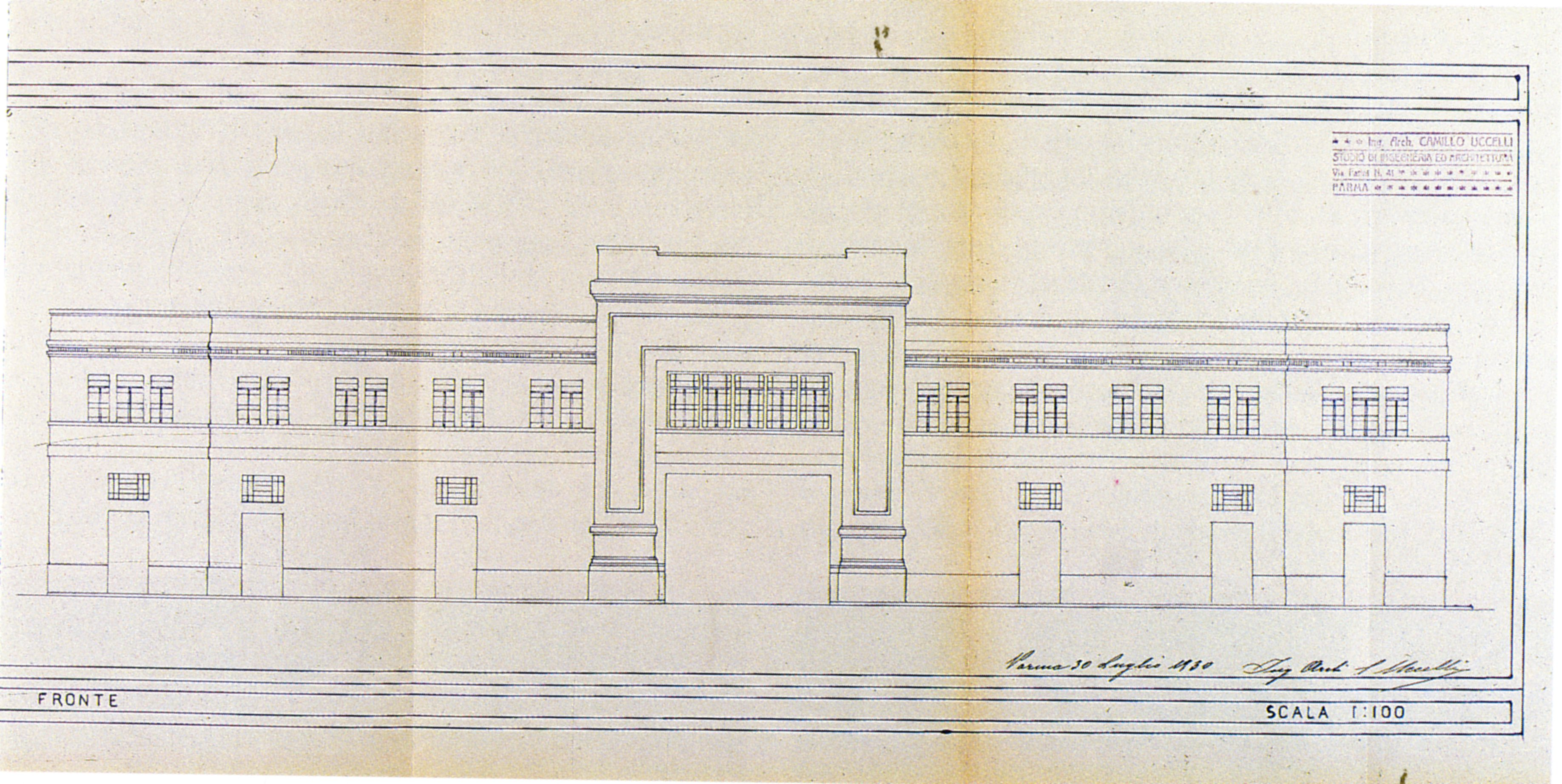 Camillo Uccelli, Design for the Bakery, 1930: west perspective design [ASCPR, building licenses, 1922/293].