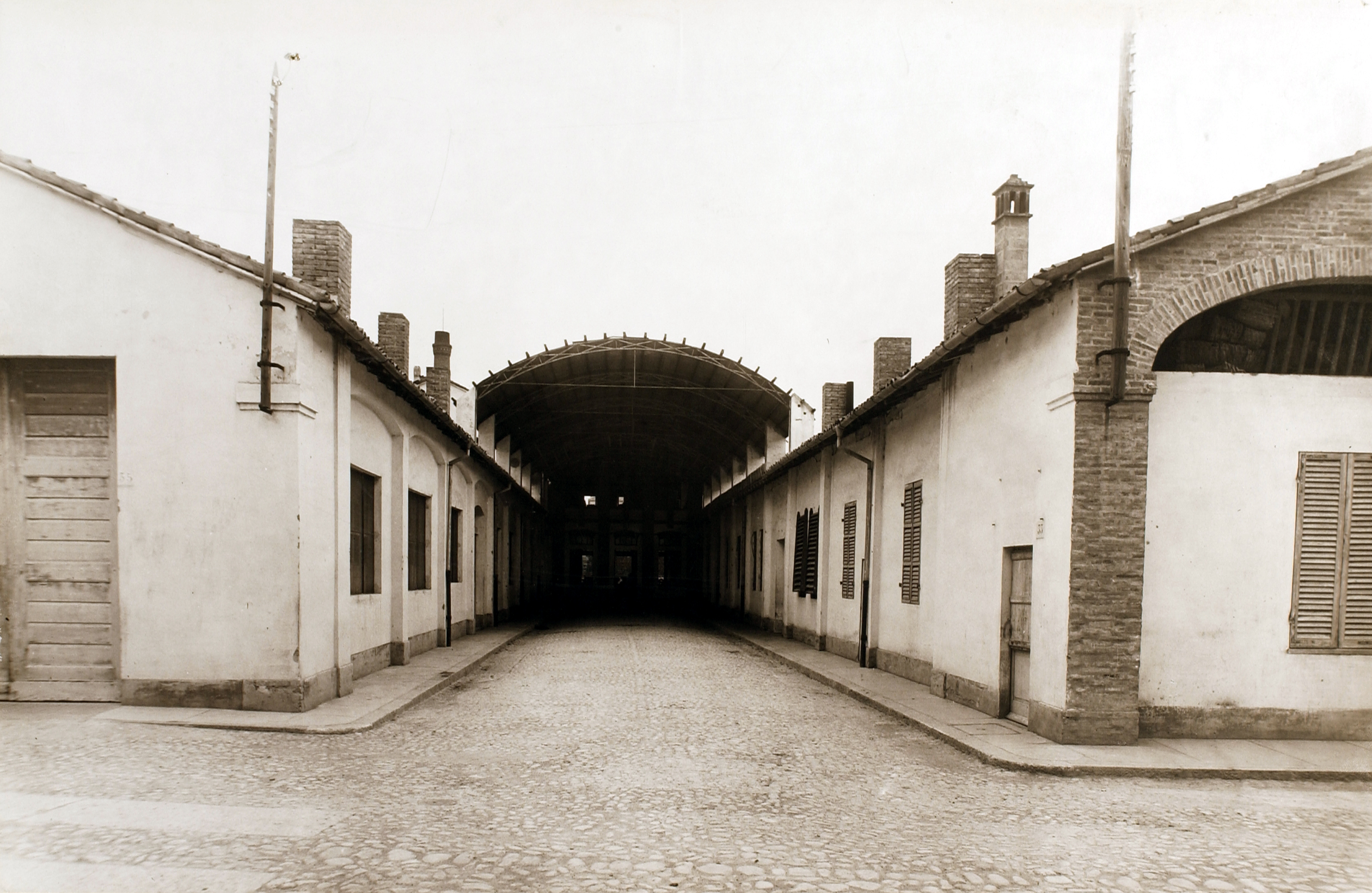 A perspective view of the stables in 1927, transformed in the thermal power station in 1935 [ASB, Aa 41].