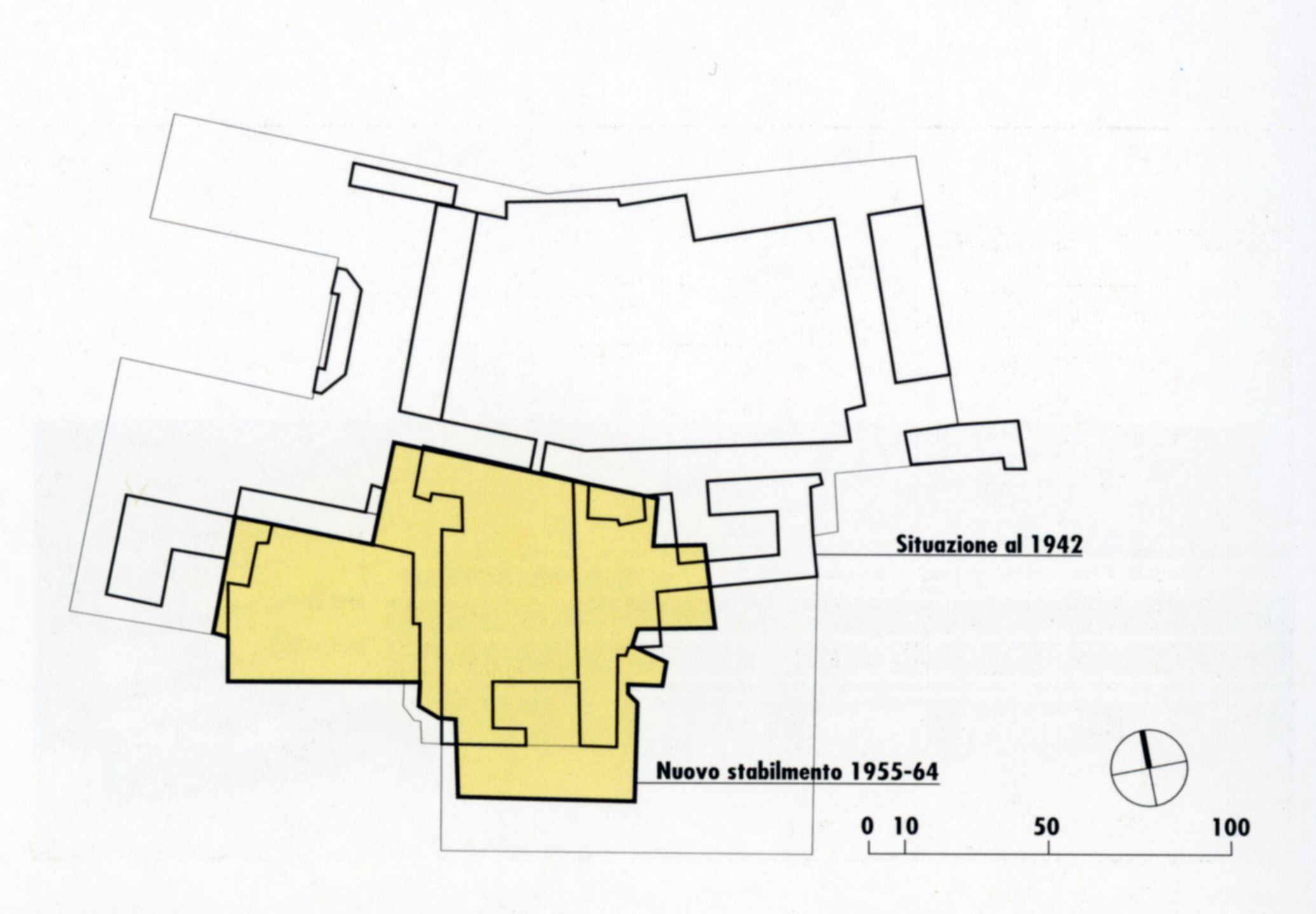 Design plan with the earlier buildings and the intervention made in the years 1955-1964.