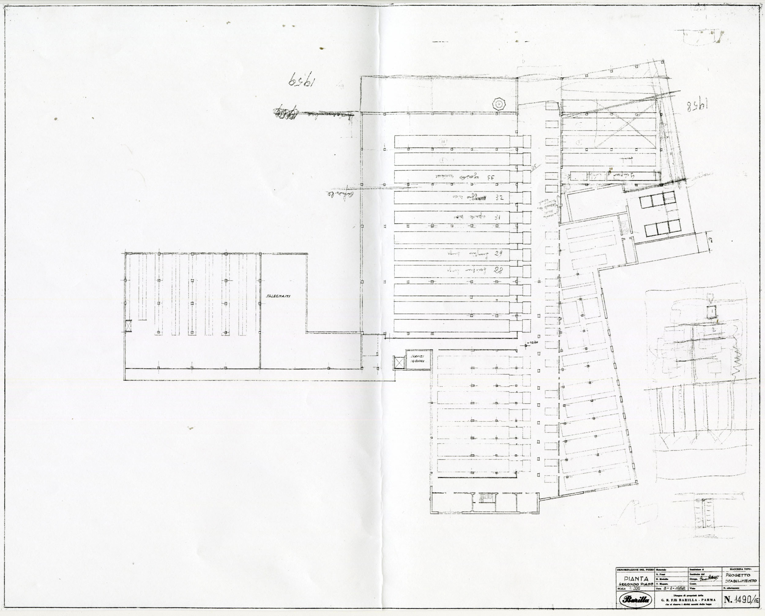 Barilla Technical Office, map of the second floor of the plant with the scheme of the production lines, 1958 [ASB, O, Plants].