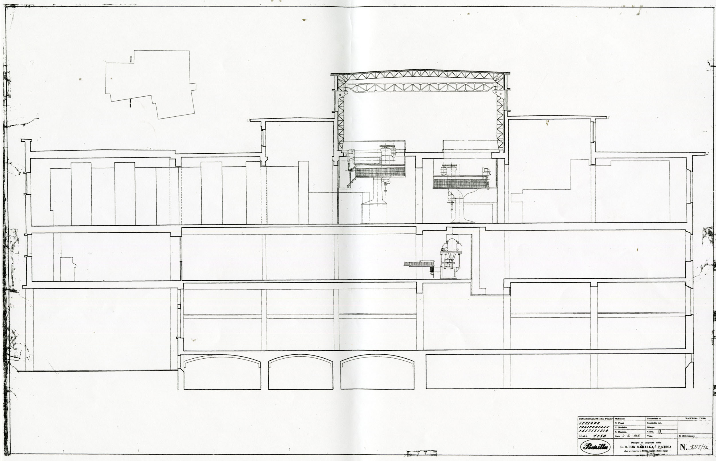 Barilla Technical Office, cross section of the plant with the design of the continuous presses on the second floor with the double height nave [ASB, O, Plants].
