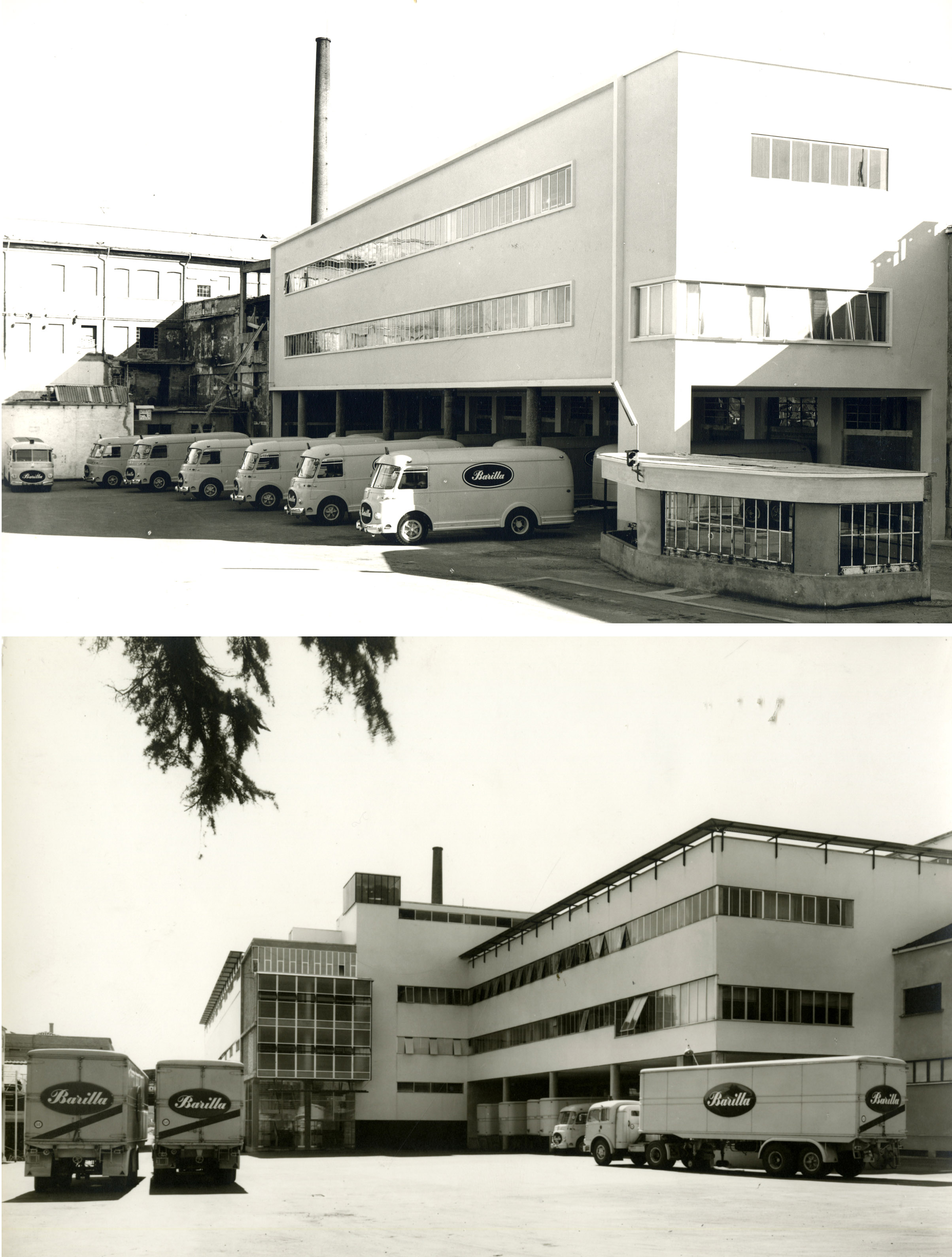 Two views of the inner north-western courtyard through different phases of completion: above, the design by Ugo Vitali Mazza (1955-57), and below the design by Gian Luigi Giordani (1957-64) [ASB, O, Stabilimenti, Photos by Montacchini]. It's possible to n