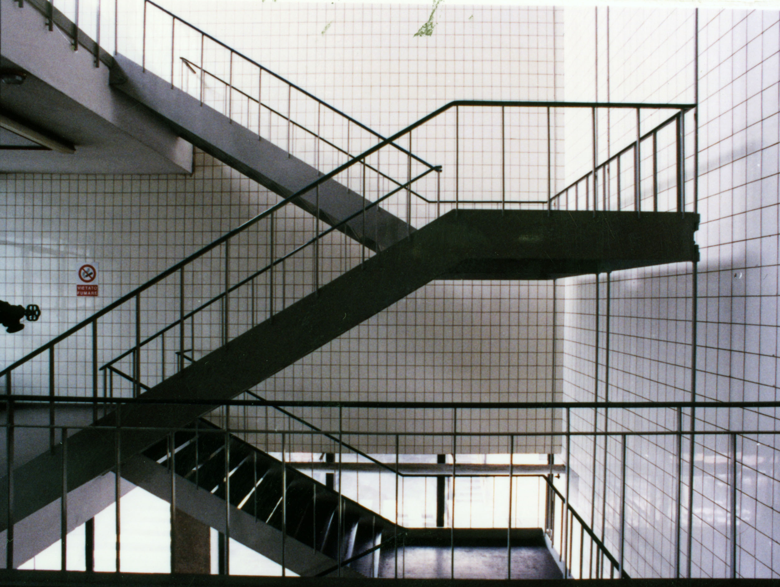 Kinta Kimura, a view of the stairway located in the North-West area that connected the various floors at the plant in Barriera Vittorio Emanuele, in a photo of February 1995 [ASB, O, Plants].