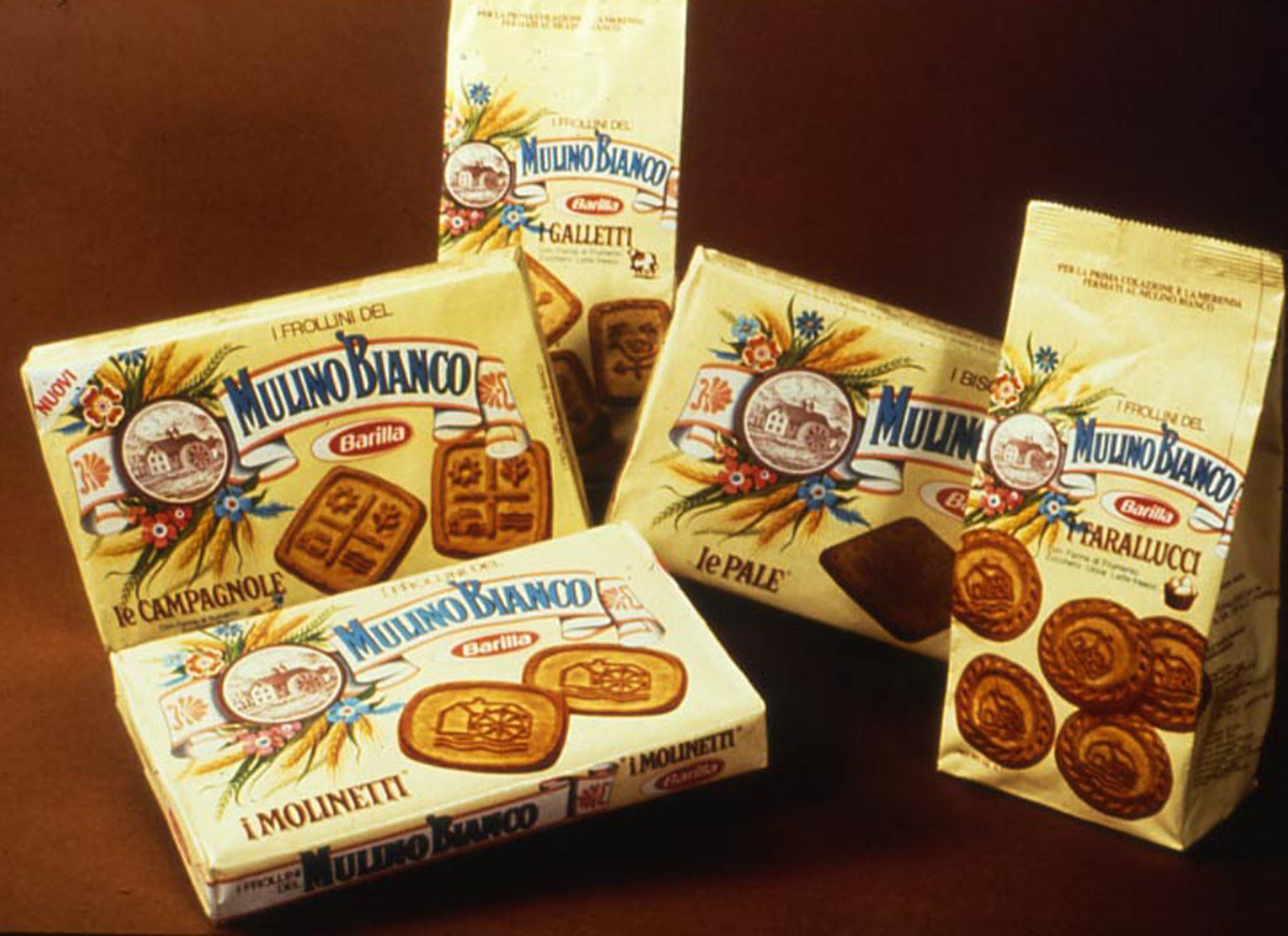 The first packaging of Mulino Bianco biscuits, 1976