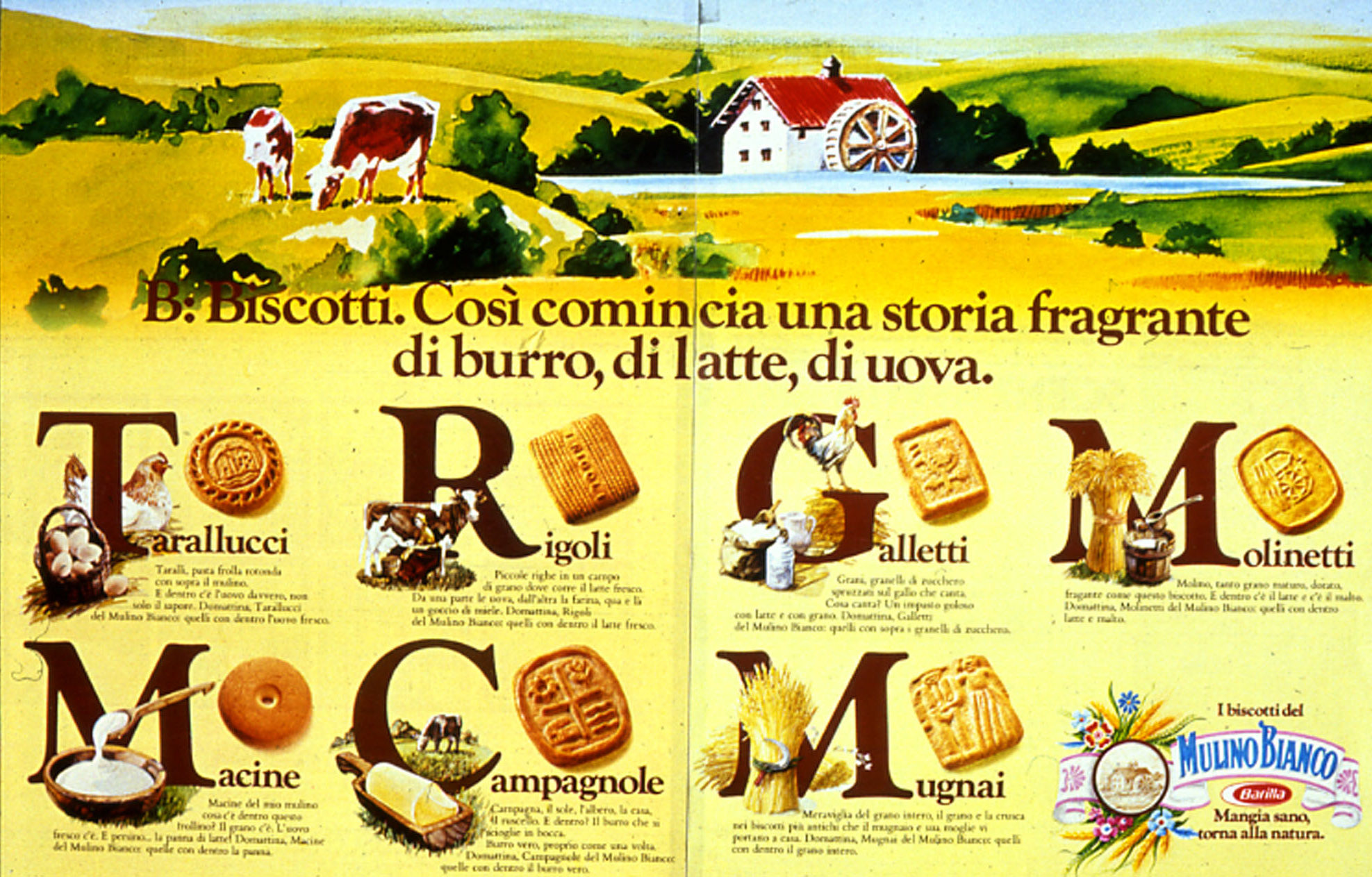 "Press advertising of Mulino Bianco, ""Book"" series, 1979"