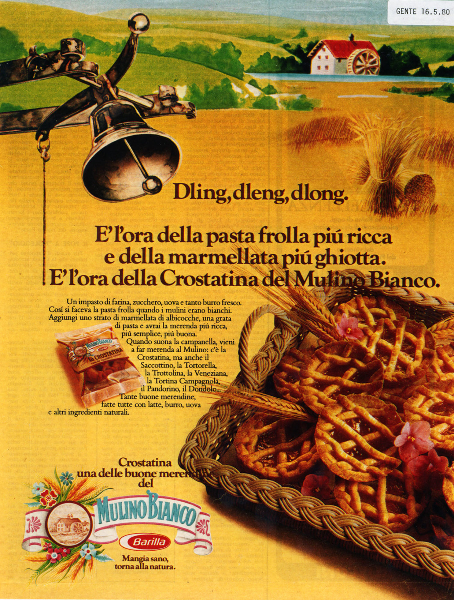 Press advertising for Crostatina, 1980