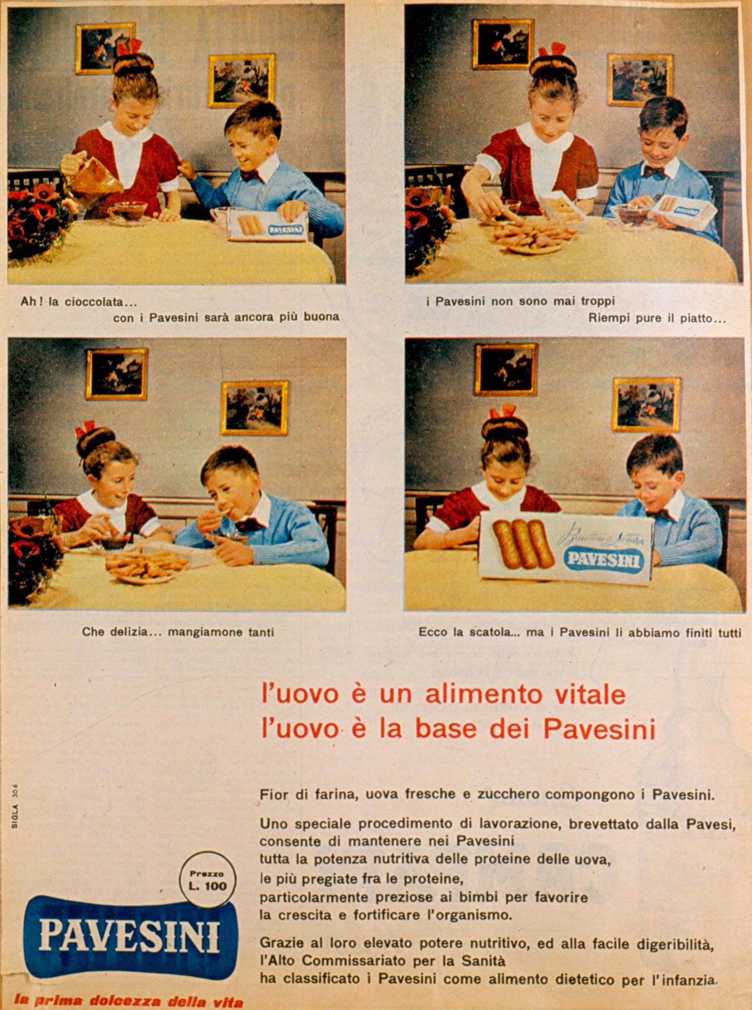 Pubblicità a stampa - L'uovo è un elemento vitale. L'uovo è la base dei Pavesini, 1956
