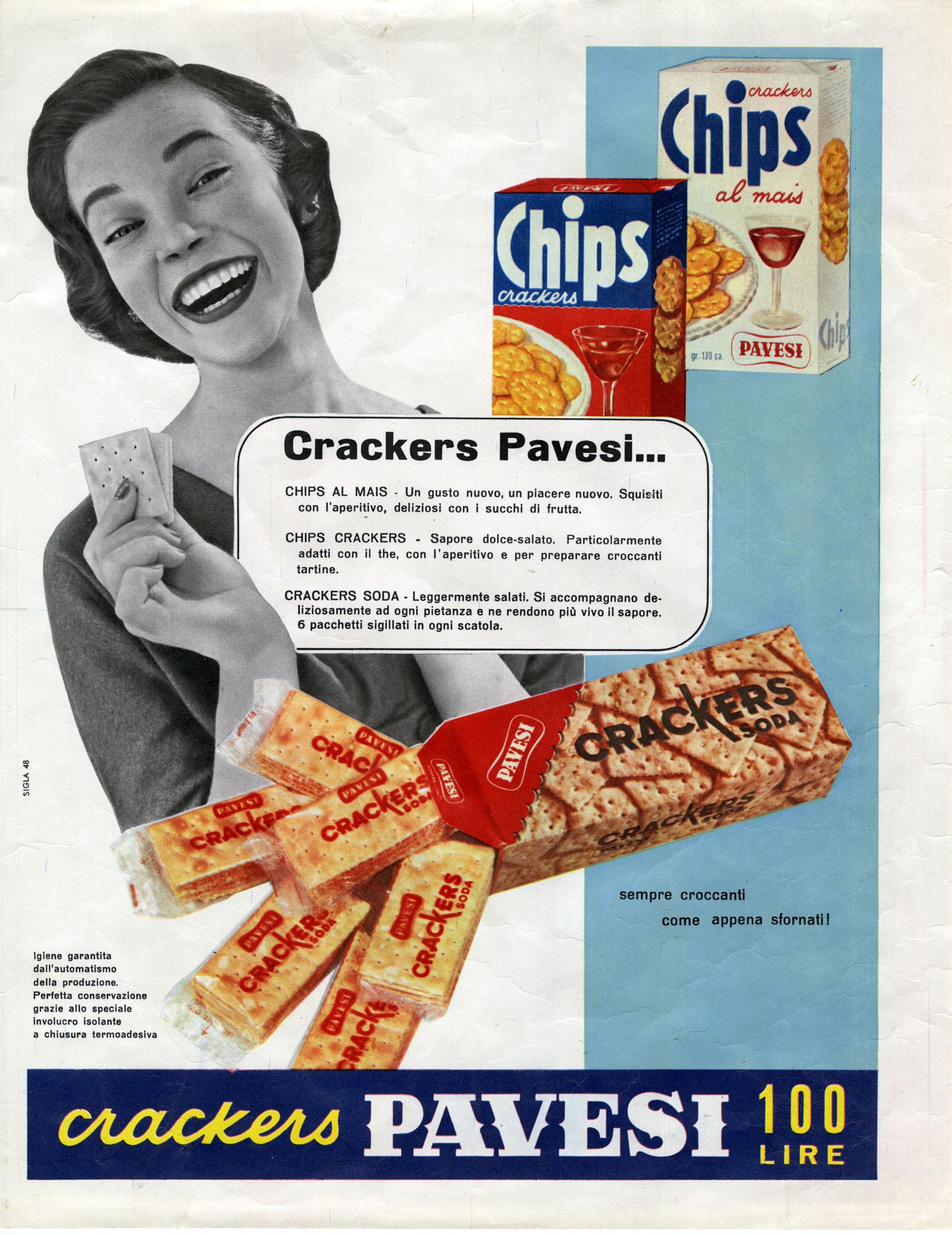 La prima pubblicità dei Crakers Soda e dei Chips Pavesi nel 1955