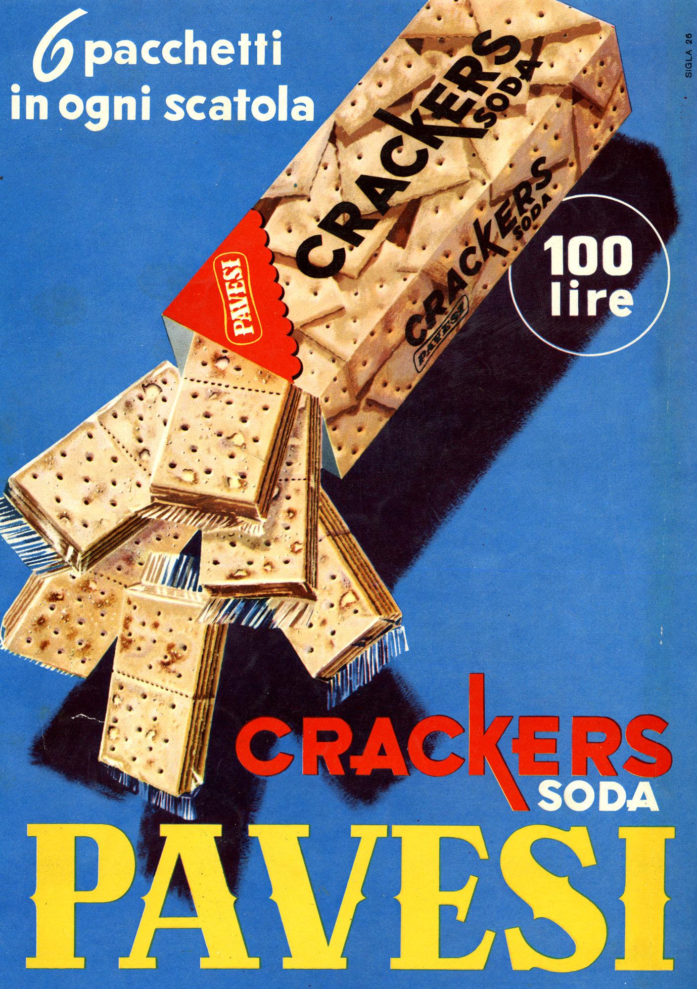 Pubblicità stampa Crakers Soda Pavesi, 1956