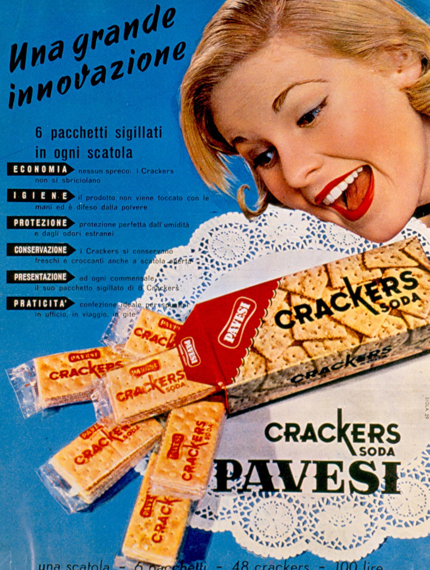 Pubblicità stampa Crakers Soda Pavesi, 1957
