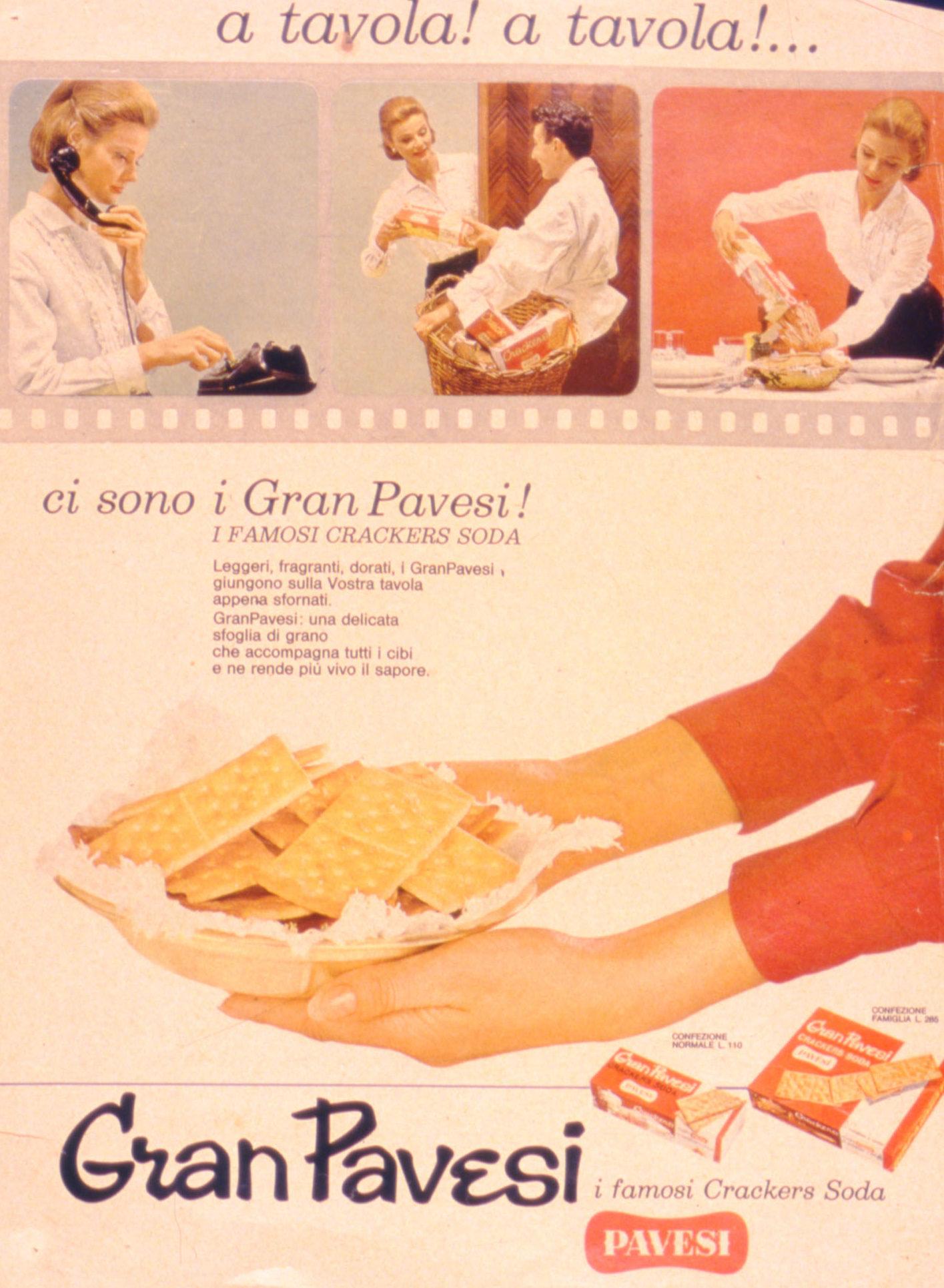 Press advertising Gran Pavesi Crackers, 1962-1963