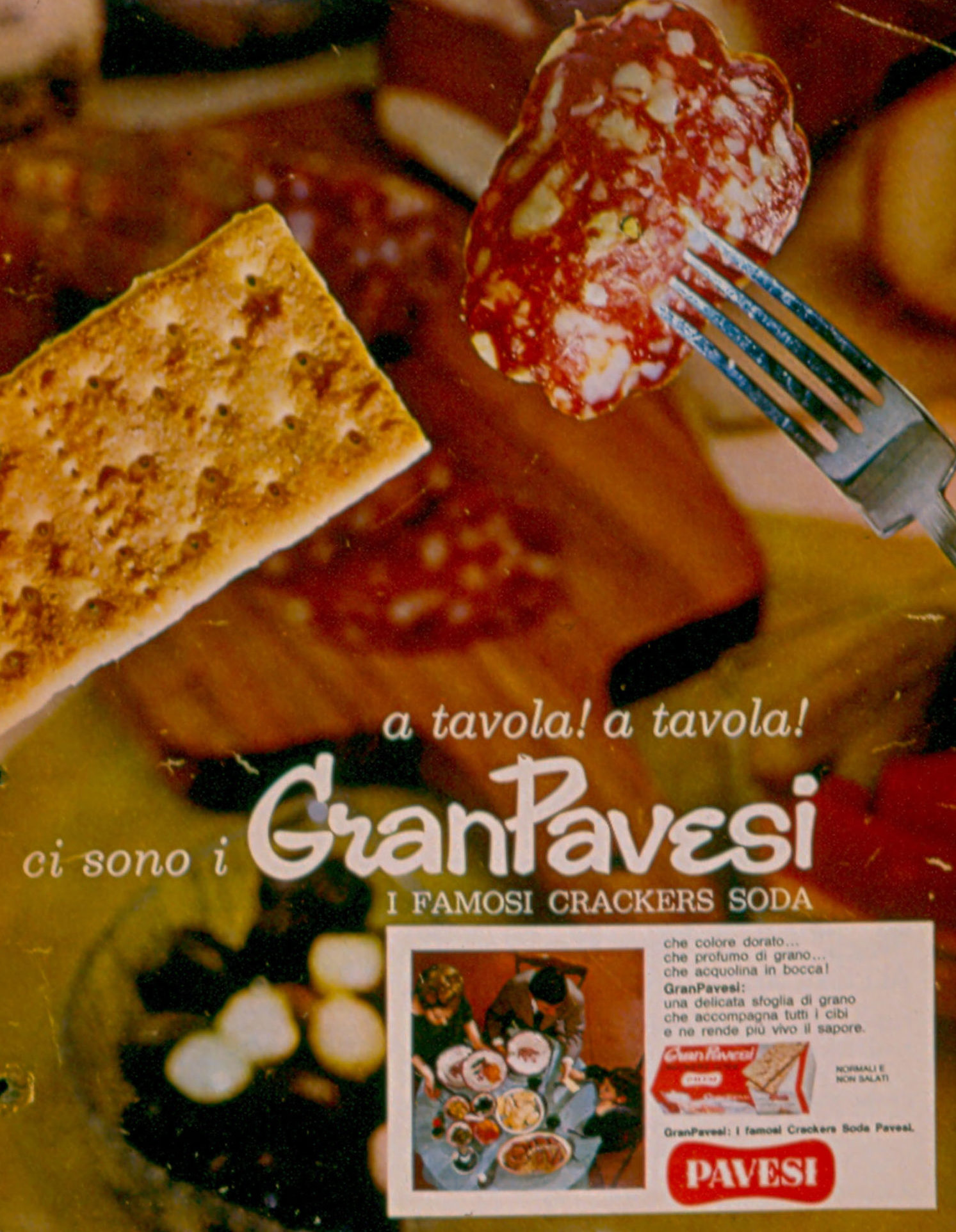 Press advertising Gran Pavesi Crackers, 1964