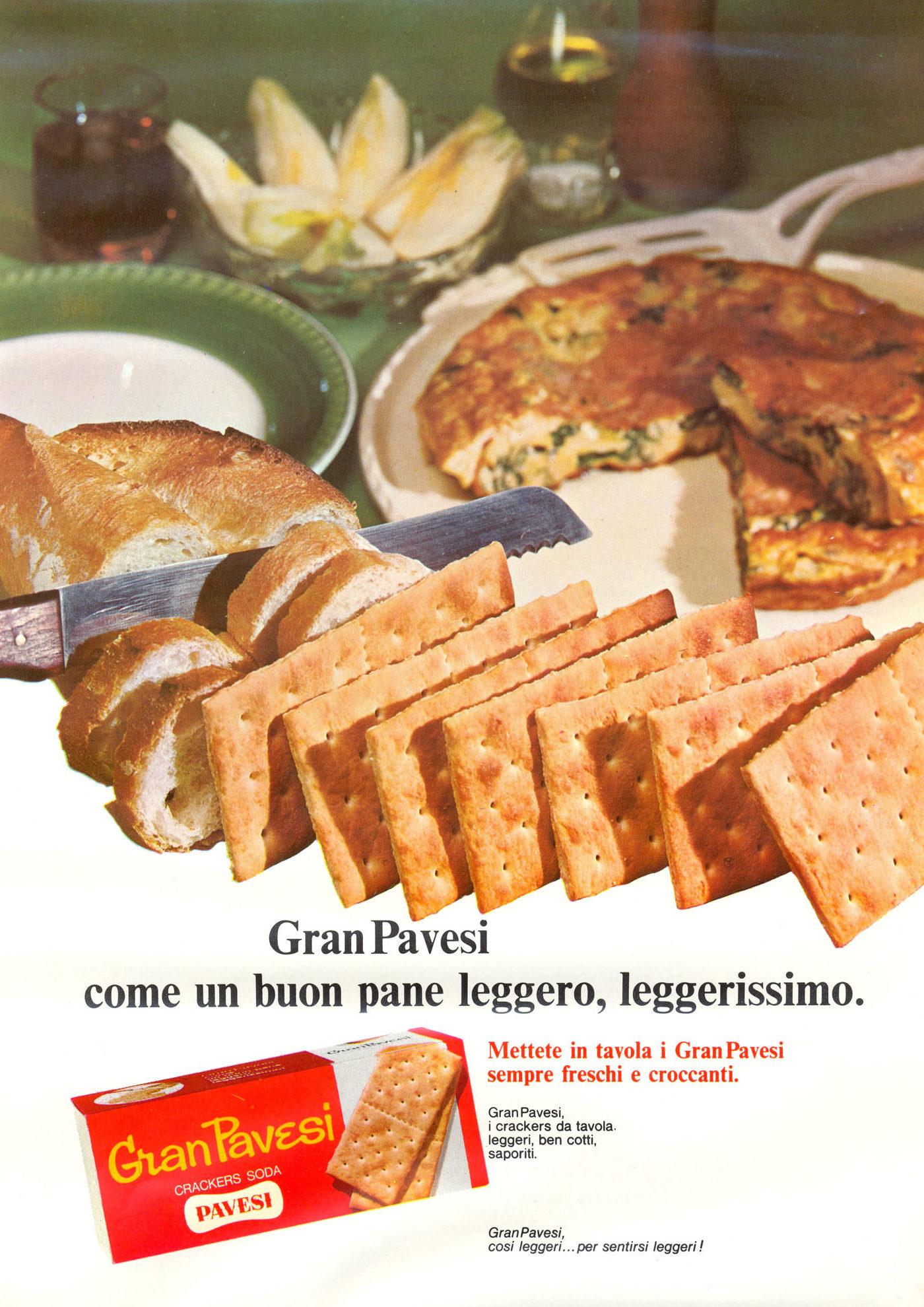 Press advertising Gran Pavesi Crackers, 1967