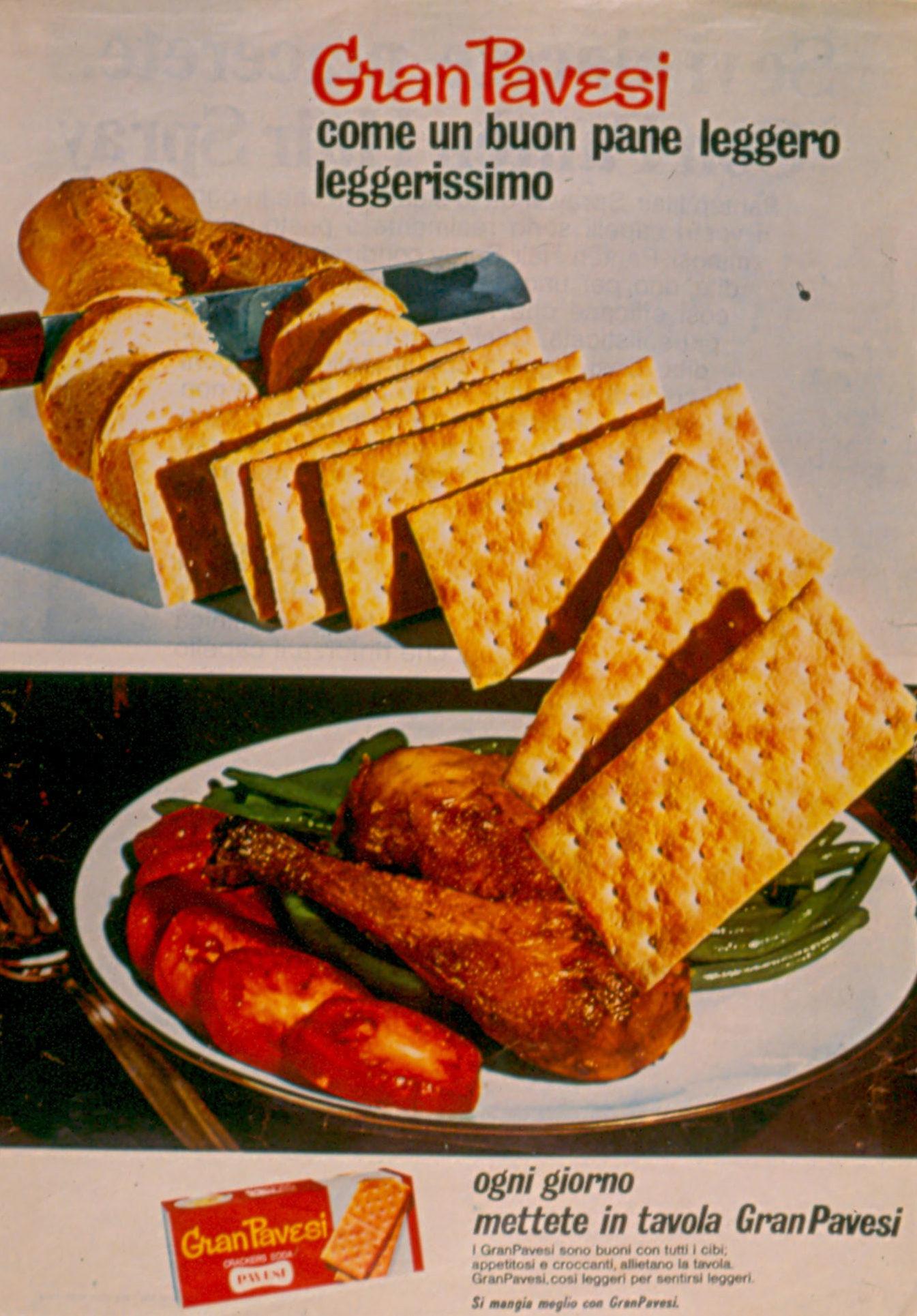 Press advertising Gran Pavesi Crackers, 1968