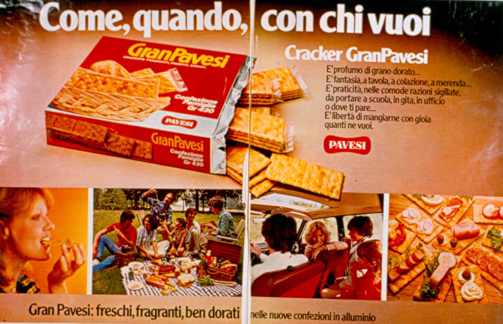 Press advertising Gran Pavesi Crackers, 1978-1979