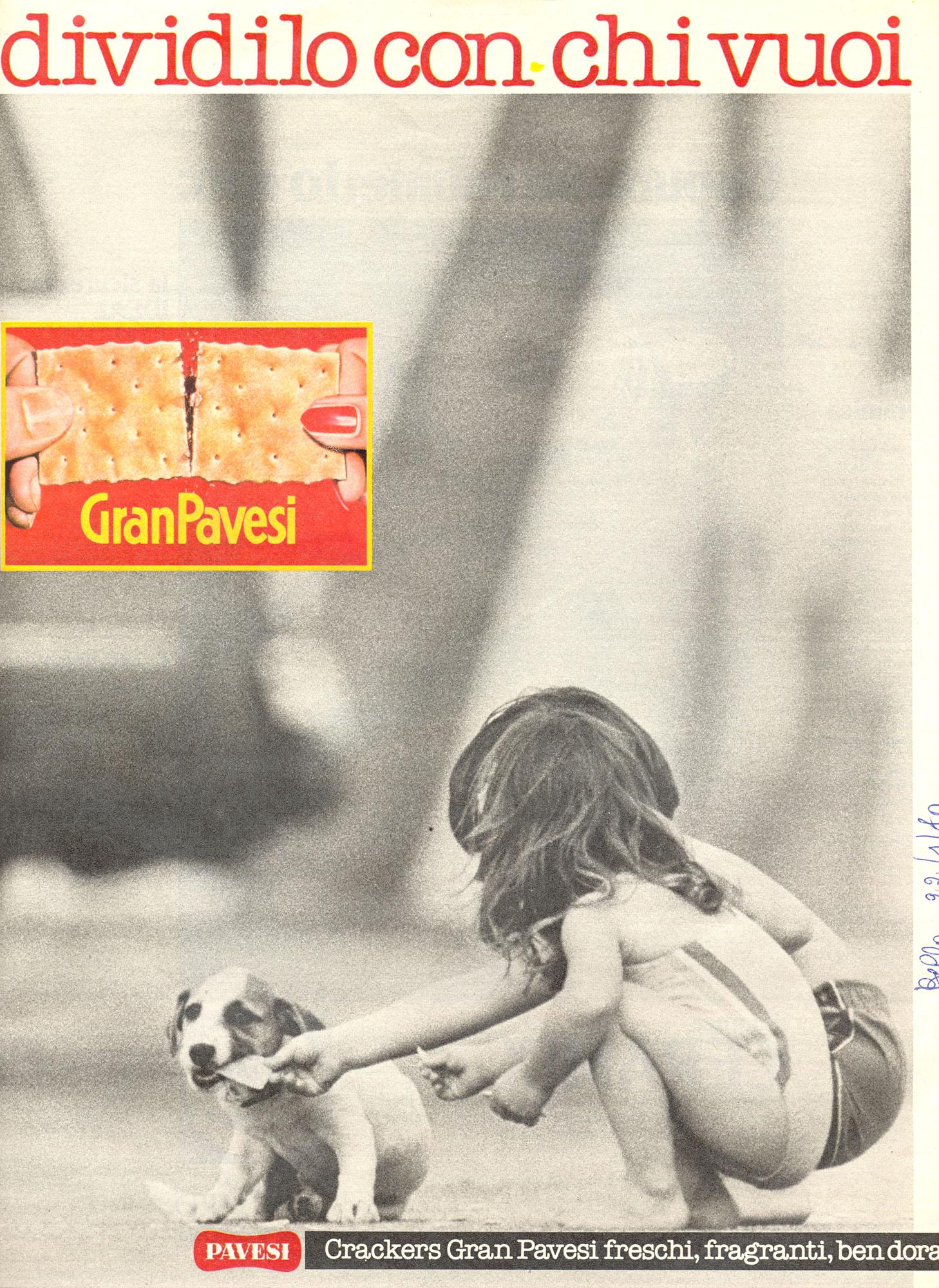 Press advertising Gran Pavesi Crackers, 1980