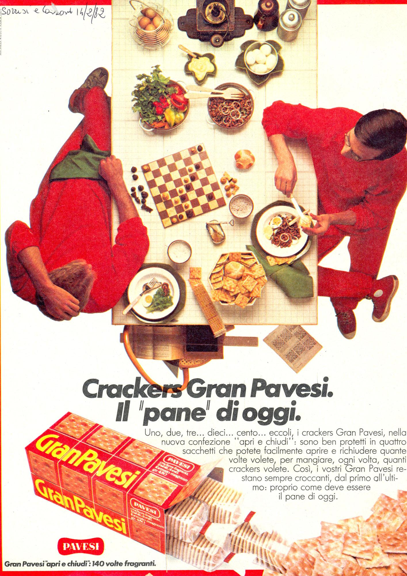 Press advertising Gran Pavesi Crackers, 1982