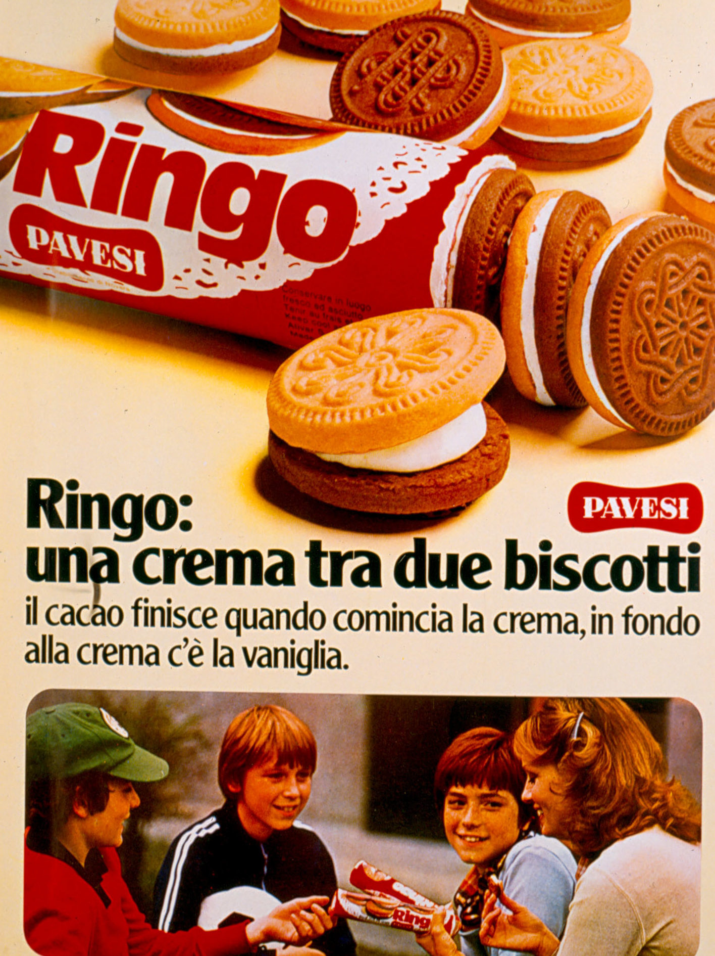 Press advertising - Ringo, una crema tra due biscotti, 1977 [Ringo, cream between two biscuits, 1977]