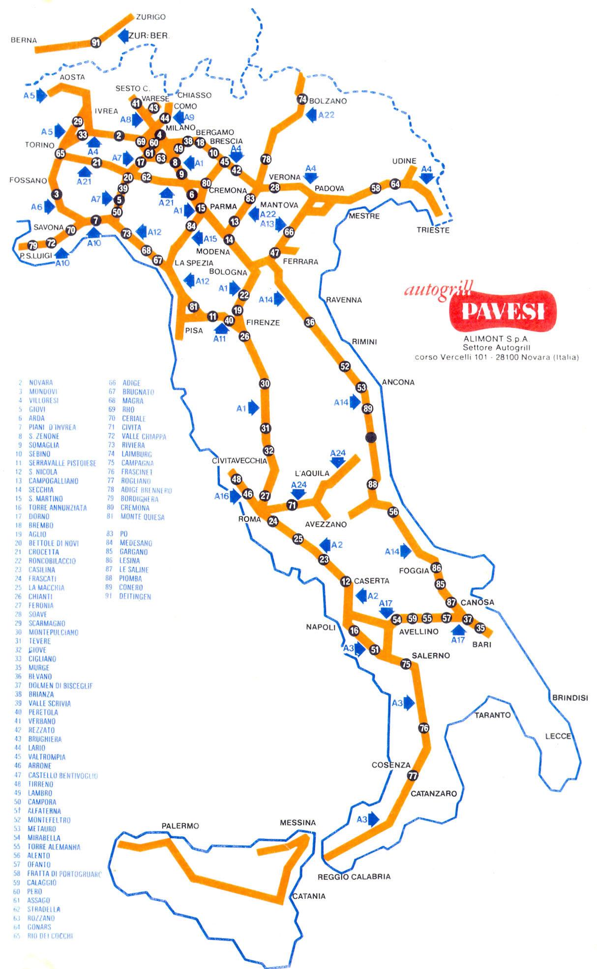 Carta d'Italia con la localizzazione degli Autogrill Pavesi