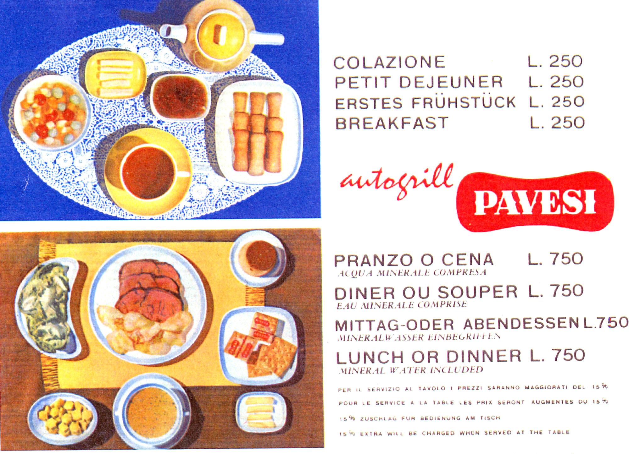 """Depliant pubblicitario degli Autogrill degli annI Sessanta del Novecento propone il menù """"ideale"""" per la colazione e per il pranzo"""