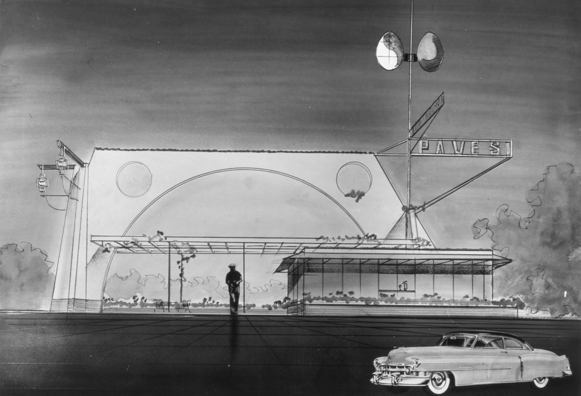 Novara Service Station, perspective drawing