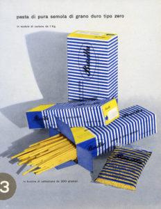 Il pack a righe bianche e azzurre disegnato da Erberto Carboni nel 1952 [ASB, BAR I G 1952/1].