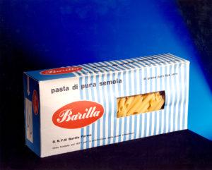 Erberto Carboni, confezione originale per la pasta Barilla, in uso nel 1955, con la finestra che consente la visione del prodotto – [ASB, BAR I Nb 1955].