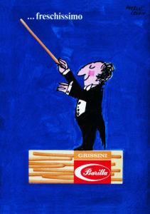 "Herbert Leupin, ""Fresco, freschissimo"", manifesto per il Grissino Barilla, 1965."