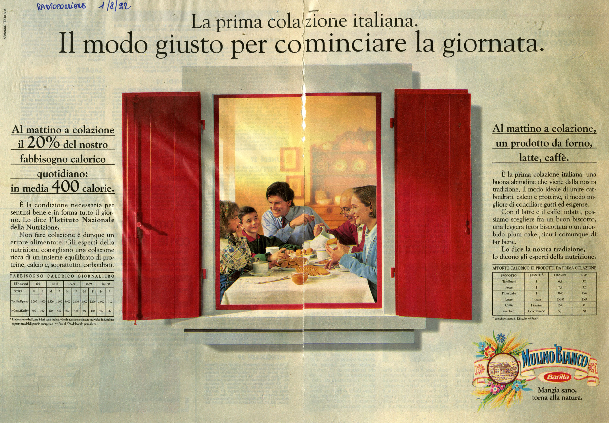 Press Advertising Campaign of the first Italian Breakfast 1992-1993 - 01